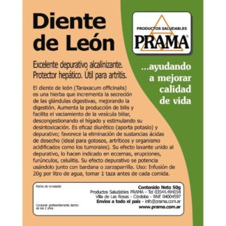 HIERBA DIENTE DE LEON 50 GRAMOS – PRAMA