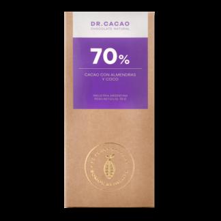 Chocolate 70% Puro Cacao con Almendras y Coco – Dr. Cacao